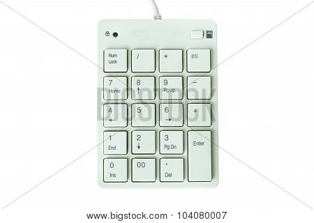 Number Key Pad On White Background