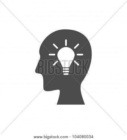Icon process of generating ideas to solve problems, birth of the
