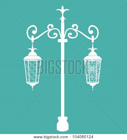 Vintage forging ornate streetlamps isolated