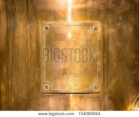 copper or bronze frame with rivets.