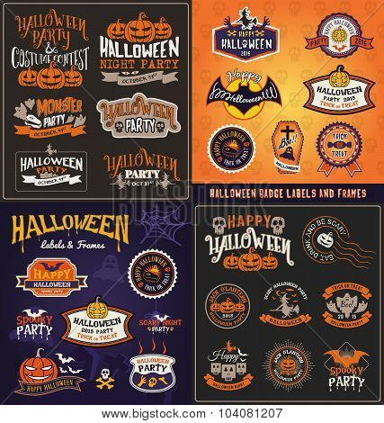 Halloween Badge And Label Sticker Collection.