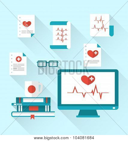 Set modern flat medical icons with paper documents with electroc