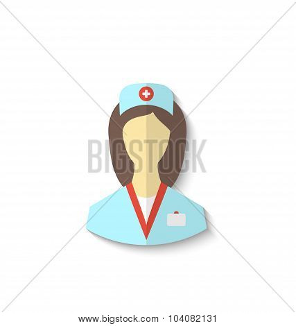 Flat icon of medical nurse with shadow isolated on white backgro