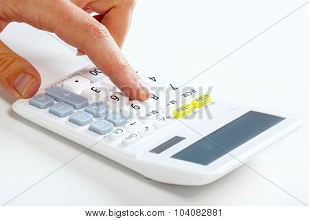 Hand of accountant business woman working with calculator.