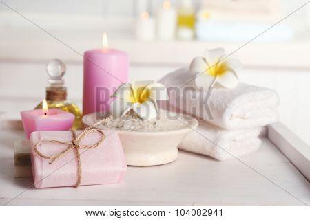 Spa treatments on light background
