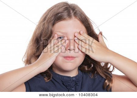 Little Girl Covering Eyes