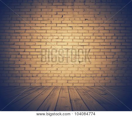 old room with brick wall, vintage background, retro film filtered, instagram style