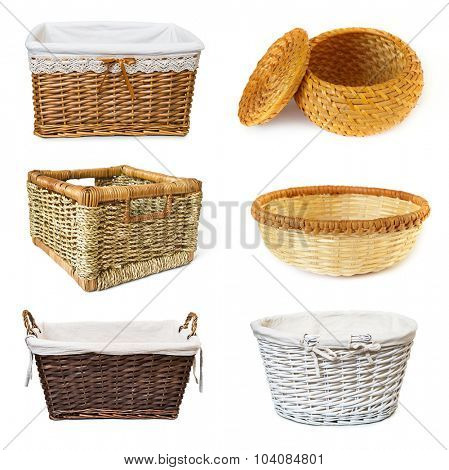 collage with wickered baskets isolated on white background