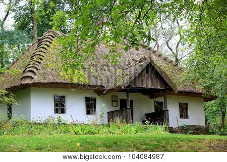Traditional Ukrainian rural house with reeds roof in green forest