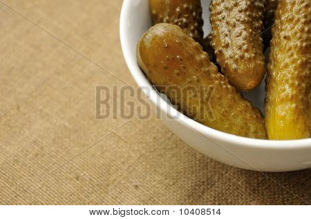 Pickles In White Bowl