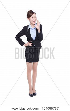 Business Woman Happy Shouting