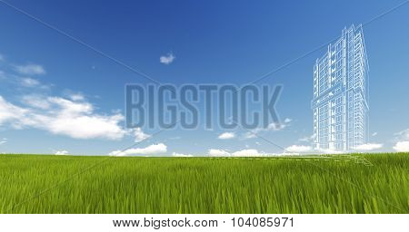 Wireframe Building on green grass and blue sky. Extremely high detailed quality render. Copyspace. G