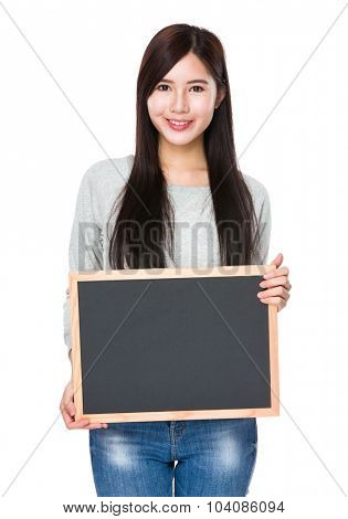 Asian Young woman hold with chalkboard