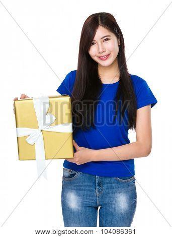 Asian woman holding a big present box