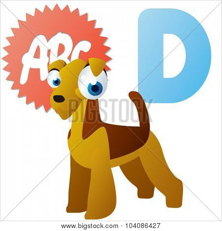 Vector comic cute animals ABC: D is for Dog