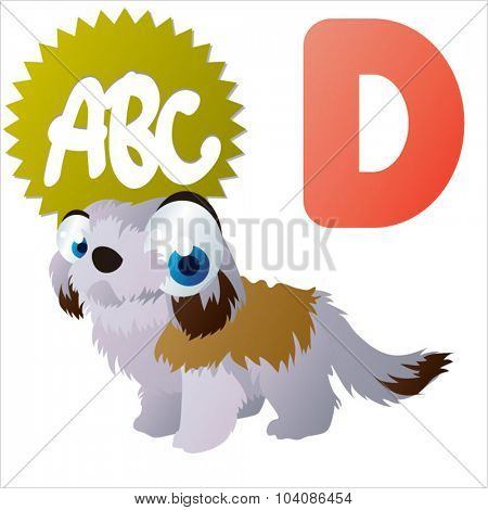 vector cartoon animals ABC: D is for Dog