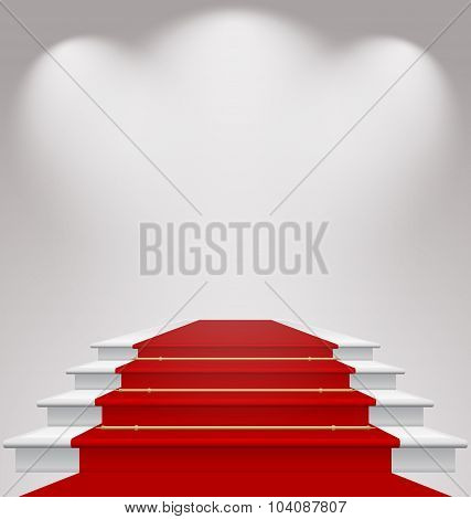 Stairs covered with red carpet, scene illuminated