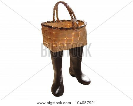 basket in boots on a white background