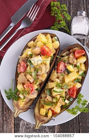baked eggplant with vegetable