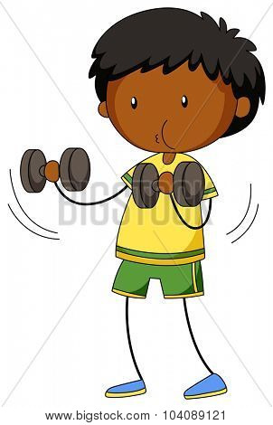 Little boy lifting weights illustration