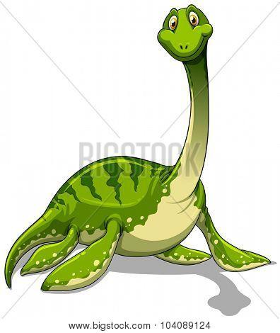 Green brachiosaurus with long neck illustration