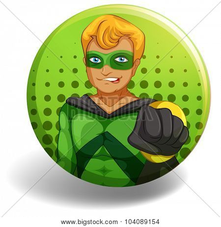 Superhero in green on round badge illustration