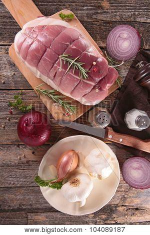 roast pork and ingredients