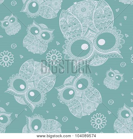 Vector illustration of owl. Bird illustrated in tribal.Owl whith flowers on dark background.