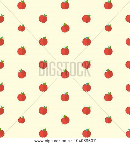 Seamless Texture with Bright Apples, Food Background