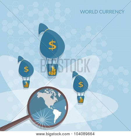 Bags Of Money World Transactions Online Payments Transfer Banking Business Finance