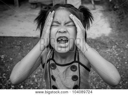 Closeup crazy Asian Girl With A Broken Teeth