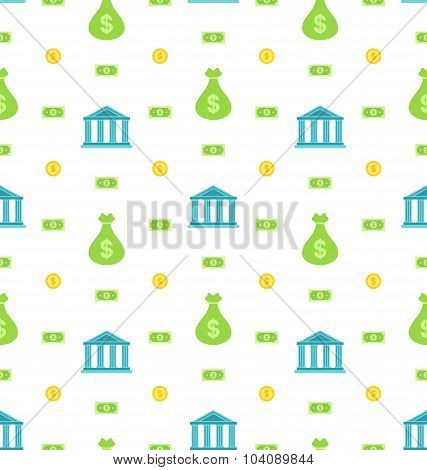 Seamless Pattern with Bank Institution, Bank Notes, Business Background