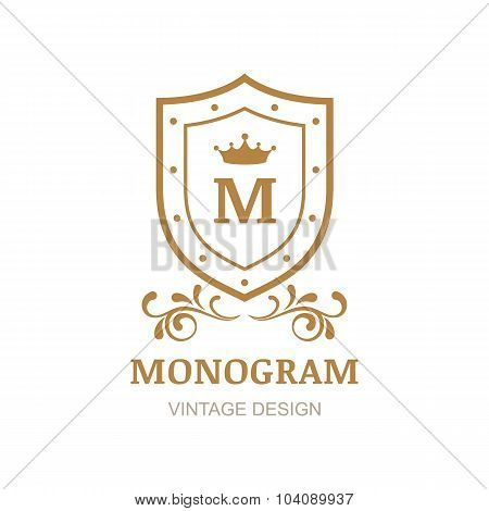 Golden Crown, Shield And Flourish Vintage Ornament, Vector Logo.
