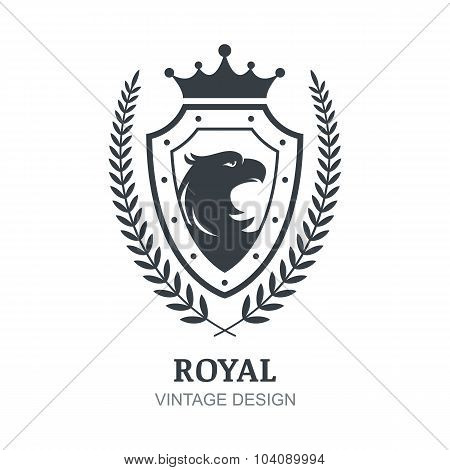 Vector Logo Template. Eagle, Crown, Shield And Laurel Branch Symbol.