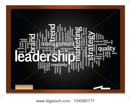 Vector concept or conceptual abstract word cloud on blackboard and chalk background as metaphor