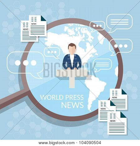 World News Concept News Studio Online Television Anchorman Broadcaster Radio Online Publication