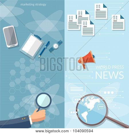 Concept Of Breaking News Newsletter  Information Business Market News Vector Banners