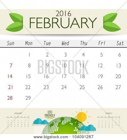 2016 calendar, monthly calendar template for February. Vector illustration.