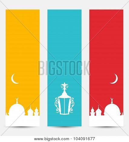Set Colorful Banners with Symbols for Ramadan Kareem