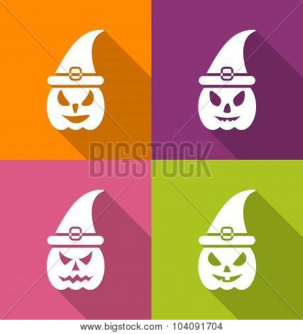 Halloween Carving Paper Pumpkins with Hats