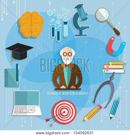 Science And Education Professor education concept