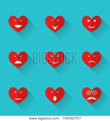 Set flat icons of smiles heart, style with long shadows