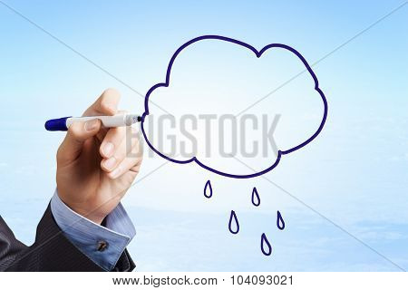 Person hand drawing cloud concept on screen