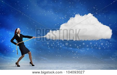 Santa woman pulling white cloud on rope