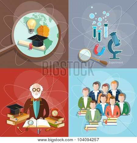 Education Set Professor Teachers Students Diploma Exam Distance Education International Study