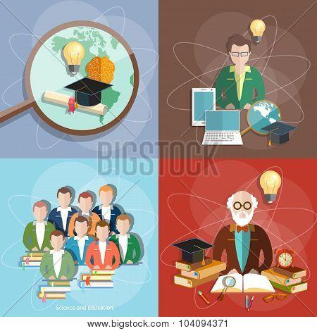 Education Set Professor Teachers Students Diploma Exam International Study College University