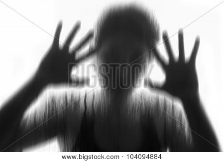 Horror Woman Behind The Matte Glass ,style  Black And White, Blurry Hand And Body , Soft Focus