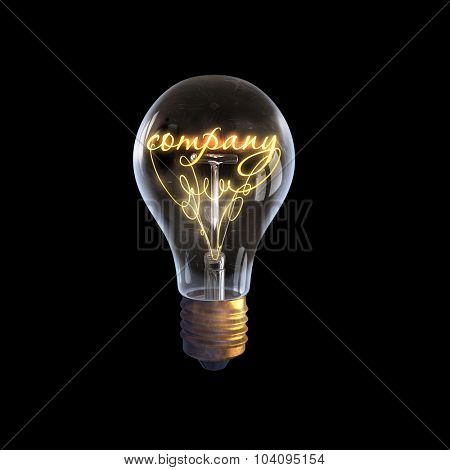Glowing glass light bulb with word company inside