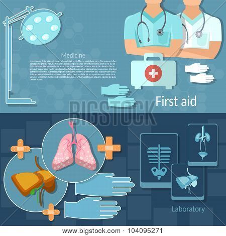 Medical Examination Professional Doctors vector banners