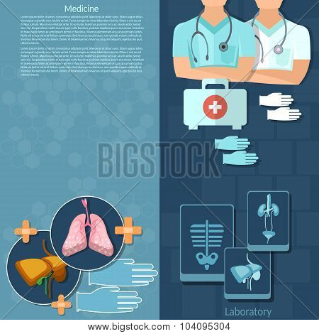 Medicine Doctors In A Hospital First Aid Kit Intern Medical Care Surgery X-ray Medical vector banner